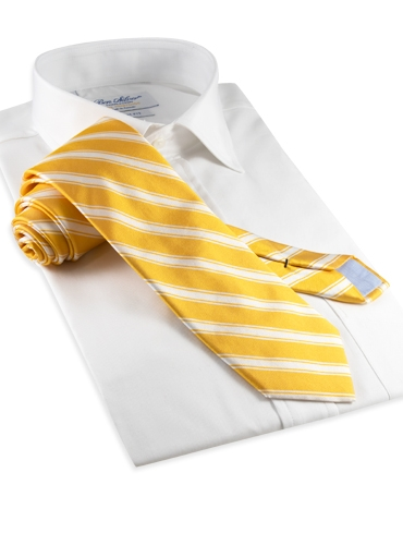 Silk Woven Double Stripe Tie in Sun