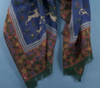 Cotton and Cashmere Blend Hunter Print Scarf in Periwinkle
