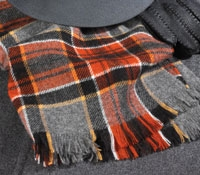 Cashmere Scarf Plaid Grey/Black/Orange/Gold