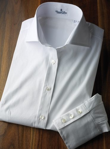 Ladies Spread Collar White Cotton Stretch Shirt