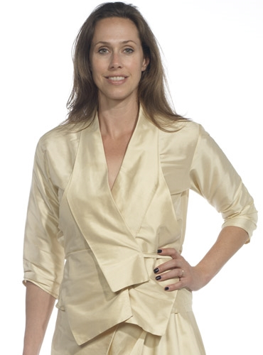 Marie Meunier Silk Wrap Blouse in Cream