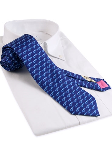 Silk Print Lobster Tie in Marine