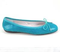 Snakeskin flat in Turquoise