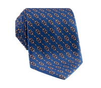 Silk Horse Motif Tie in Royal Blue