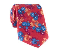 Silk Floral Print Tie in Fire