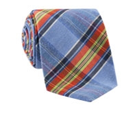 Woven Mogador Plaid Tie in Denim