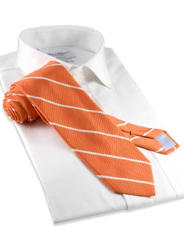 Mogador Thin Bar Stripe Tie in Tangerine