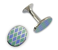 Lapis and Mint Diamond Design Oval Cufflinks