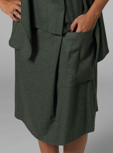 Herringbone Skirt with side pocket in Green