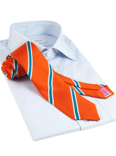 Silk Print Stripe Tie in Tangerine
