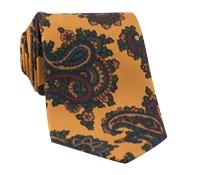 Silk Print Paisley Tie in Marigold