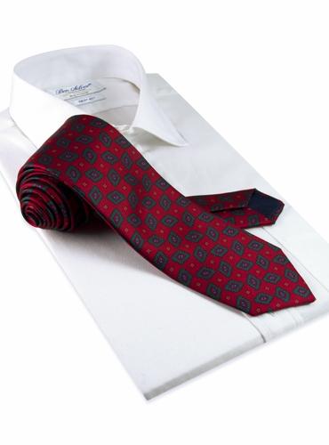 Silk Madder Print Tie with Diamond Motif in Red