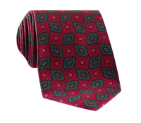 Silk Madder Print Tie with Diamond Motif in Red