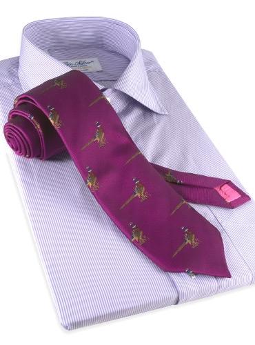 Silk Woven Pheasant Motif Tie in Fuchsia