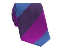 Silk Woven Multi Stripe Tie in Fuchsia, Purple, Regal
