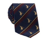 Silk Woven Duck Motif Tie in Navy