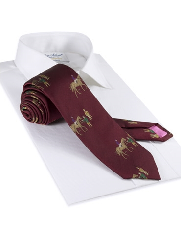 Silk Woven Derby Tie in Wine