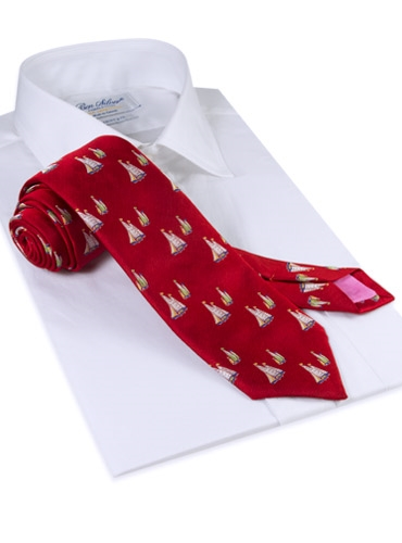 Silk Woven Sailboat Motif Tie in Cardinal