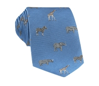 Jacquard Woven Animal Motif Tie in Sky