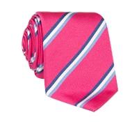 Silk Triple Stripe Tie in Azalea