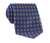 Wool & Silk Printed Neat Tie in Blue