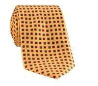 Silk Print Small Flower Tie in Marigold