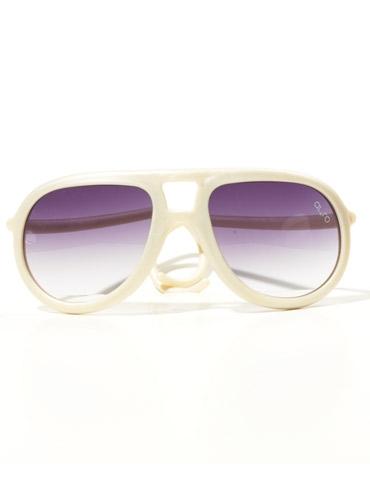 Aviator Rubber Sunglass in Pearl White