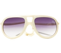 Aviator Rubber Sunglass in Pearl White