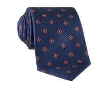Silk Diamond Print Tie in Navy