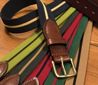 Stripe Stretch Belts with Leather Tabs and Leather Keepers, Size 36