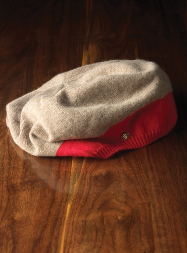 Ladies Cashmere Beret in Ginger and Red