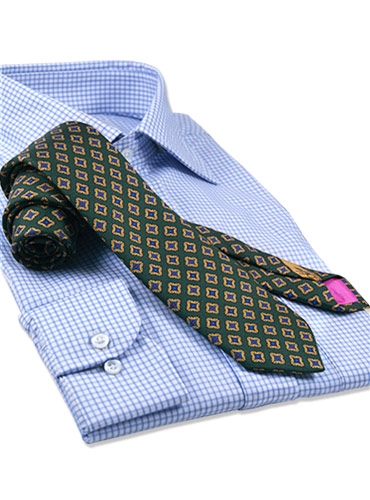 Silk Print Tie with a Square Motif in Rifle