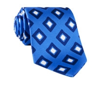 Silk Diamond Print Tie in Cobalt