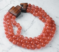 Three Strand Cherry Quartz Necklace