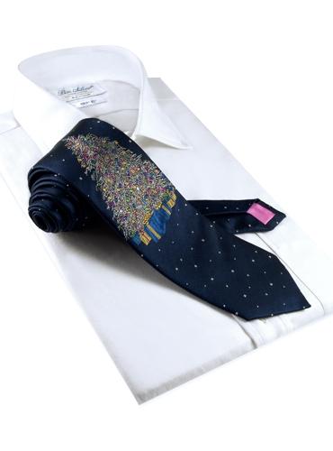 Woven Christmas Tree Tie Navy