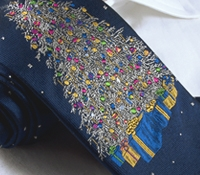 Woven Christmas Tree Tie Navy