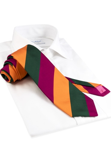 Mogador Silk Block Stripe Tie in Fuchsia, Forest, and Tangerine