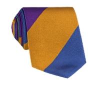Silk Block Stripe Tie in Violet, Fern and Blue