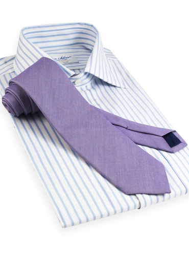 Oxford Weave Solid Silk Tie in Iris