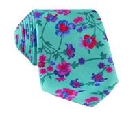 Silk Floral Print Tie in Seafoam