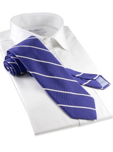 Mogador Thin Bar Stripe Tie in Blueberry