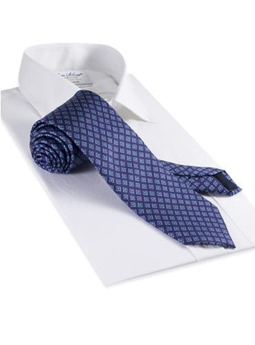 Silk Printed Diamond Flower Tie in Violet