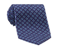 Silk Printed Diamond Flower Tie in Violet