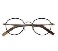 Nearly Round Wire Frame in Nickel and Black with Wood Color Temples