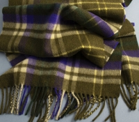 Cashmere Plaid Scarf in Olive and Purple