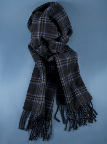 Cashmere Plaid Scarf in Charcoal and Royal Blue