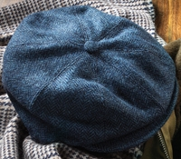 Wool Halifax Cap in Regal and Sky Herringbone