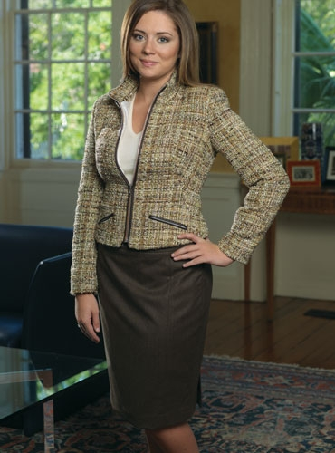 Brown Flannel Pencil Skirt
