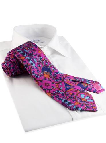 Silk Print Floral Tie in Azalea