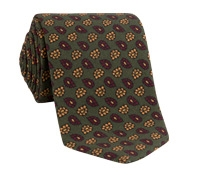 Wool Droplet Motif Tie in Olive